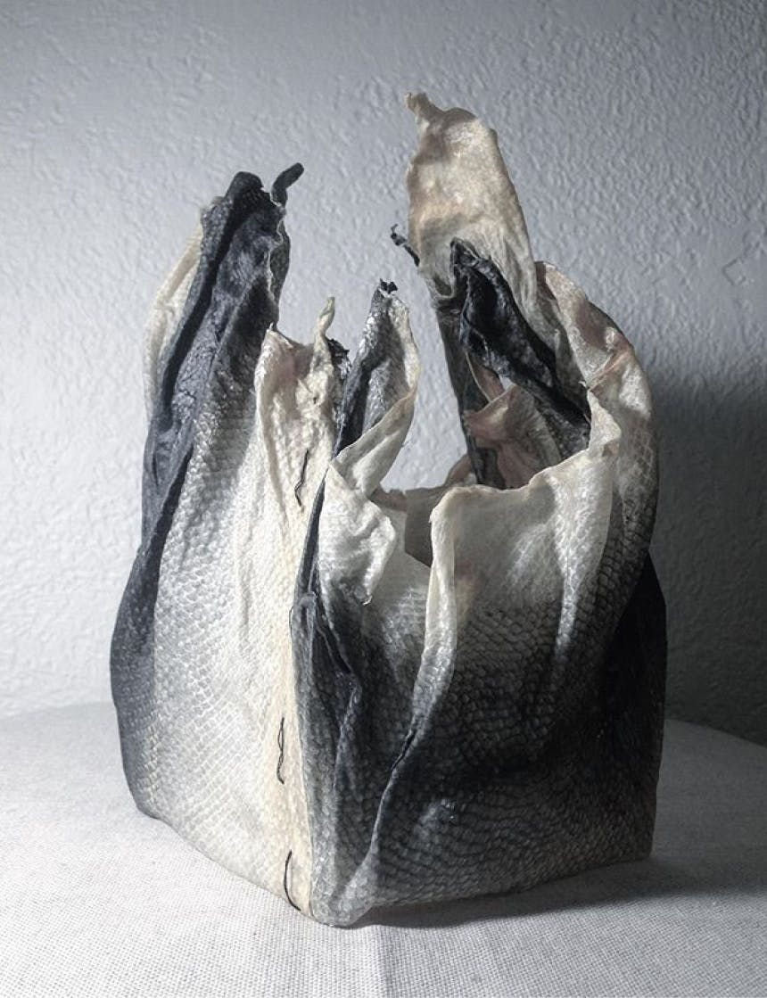 a bag made out of fish scales