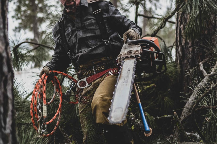 person holding a large chainsaw in one hand and a coil of rope in the other in a pine forest