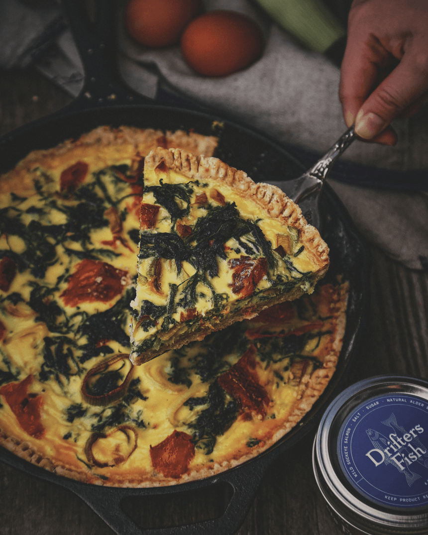 Stinging Nettle Quiche with Smoked Alaskan Salmon_3