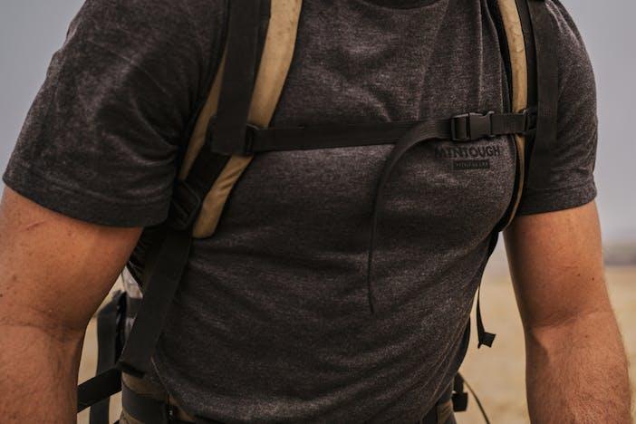 Lifestyle image of Filson x MTNTOUGH Buckshot T-Shirt.