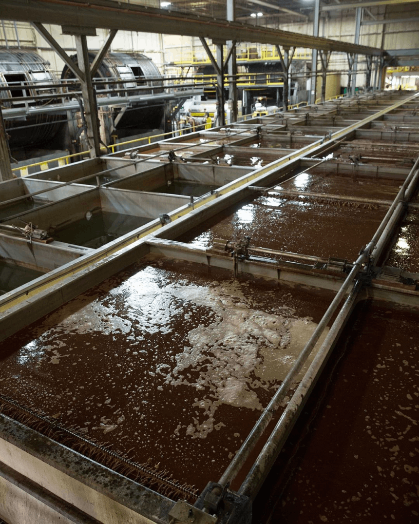 Vats of vegetable tanning solution at the Wickett & Craig factory.