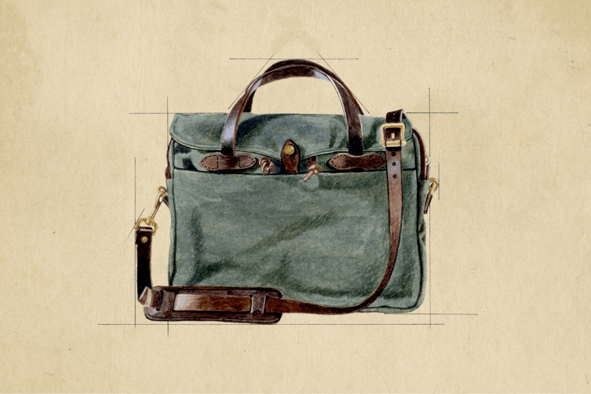 Sketch of the Filson Original Briefcase.