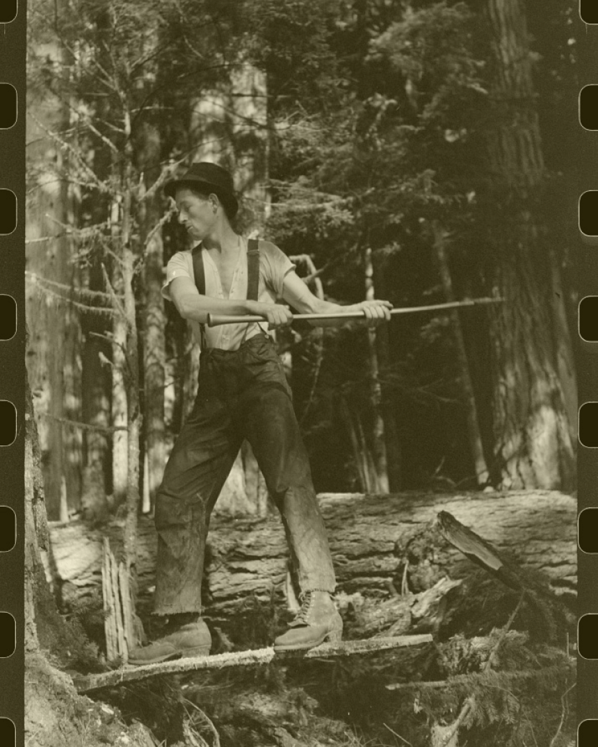 Vintage logger wearing White's Boots.