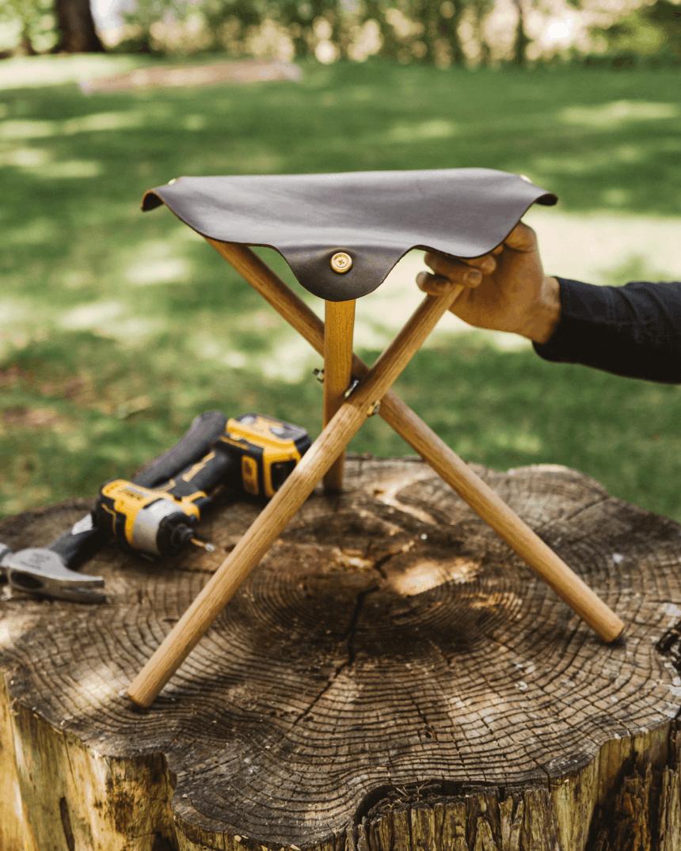 Finished product shot of a 3 legged folding stool