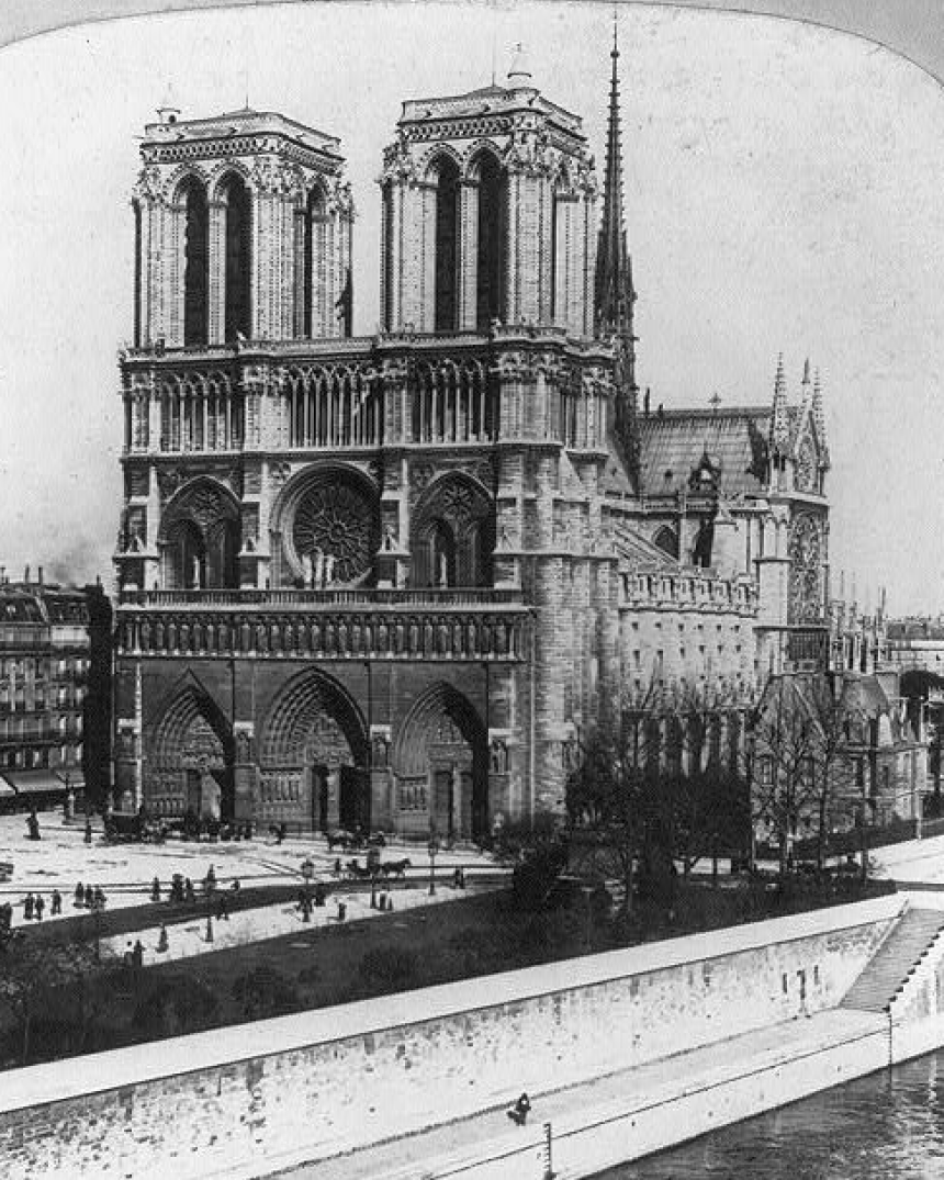 Archival black and white of Notre Dame in Paris, France