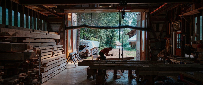 Timber framer Peter Henrikson's workshop
