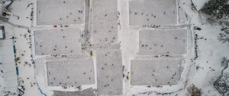 Aerial photo of pond hockey tournament