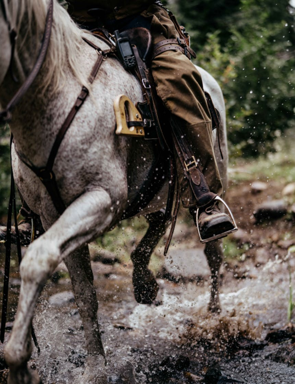 a close up of a rider riding through a stream on a white horse