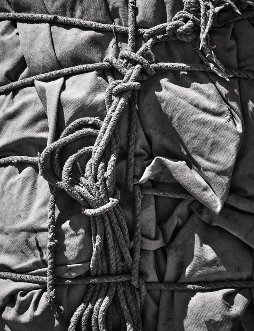 black and white image of a top down view of a pack tied to a horse, showing the canvas and rope