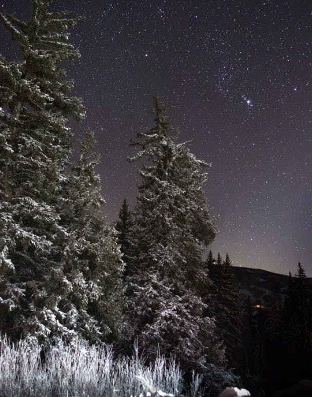 Arrival of Winter. Snow covered trees and Orion high in the sky are sure signs that Winter has arrived in Summit County, Colorado.