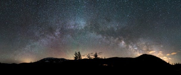 Milky Way Rising: Airglow. Meteor and Earthly lights. Williams Fork Range - Summit County, Colorado.