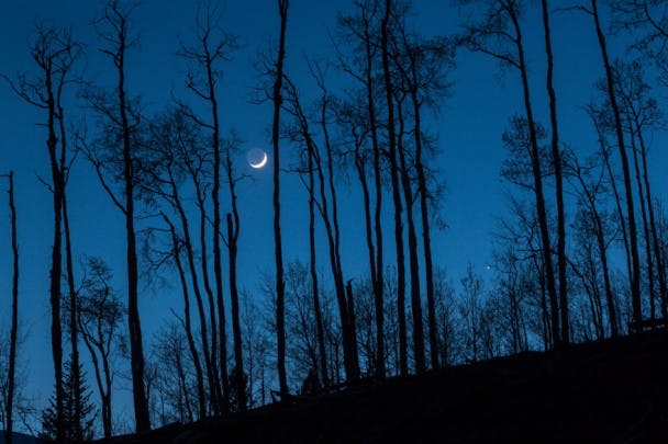 Crescent Moon and Jupiter. May 12, 2013 from White River National Forest in Summit County, Colorado