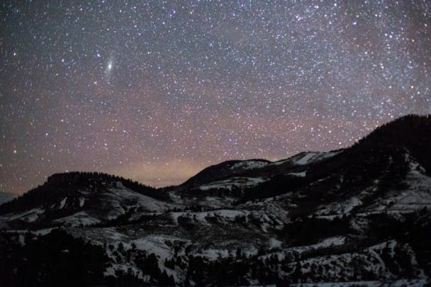 Andromeda Galaxy over Williams Peak. Middle Park - Summit County, Colorado.