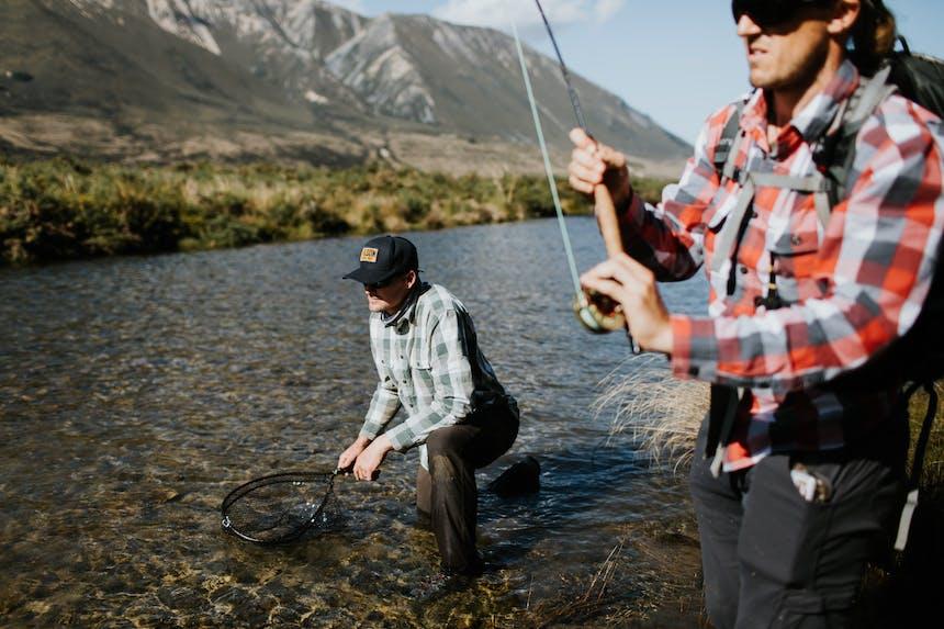 reeling in a trout