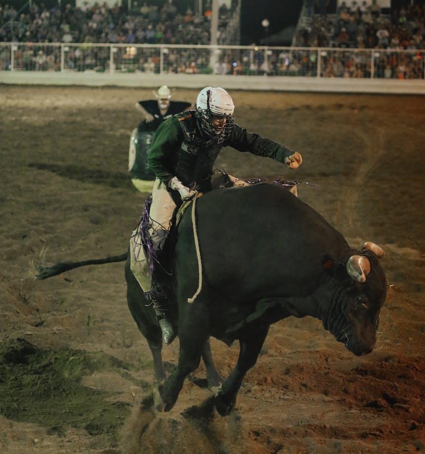 Garrett on a bull