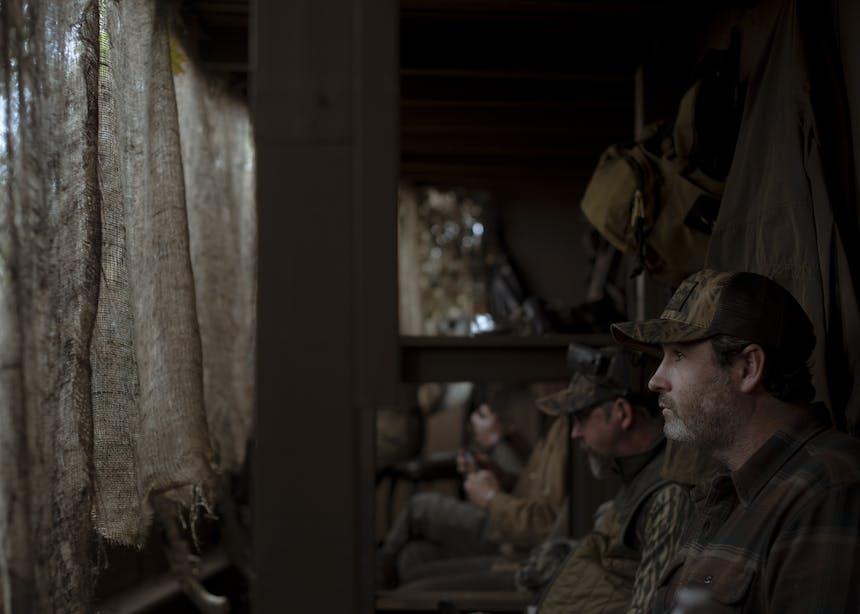 hunters inside the blind