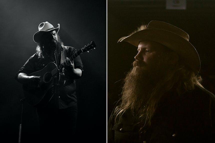 split screen of portraits of chris stapleton in white cowboy hat holding guitar