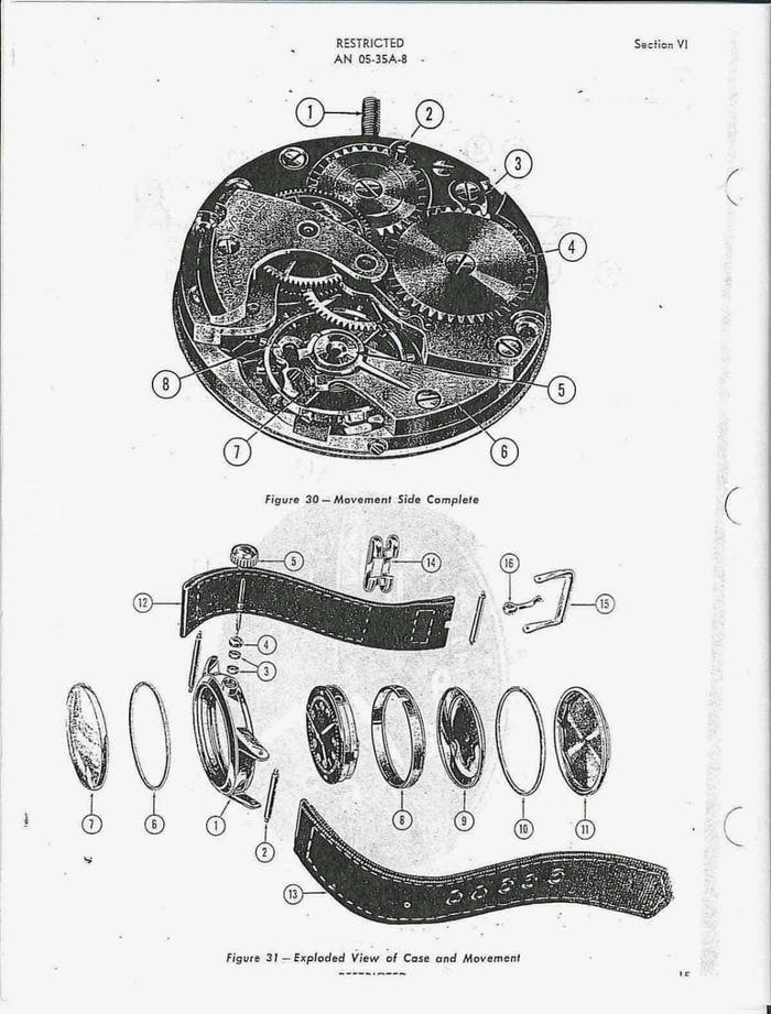 manufacturing diagram of field watch