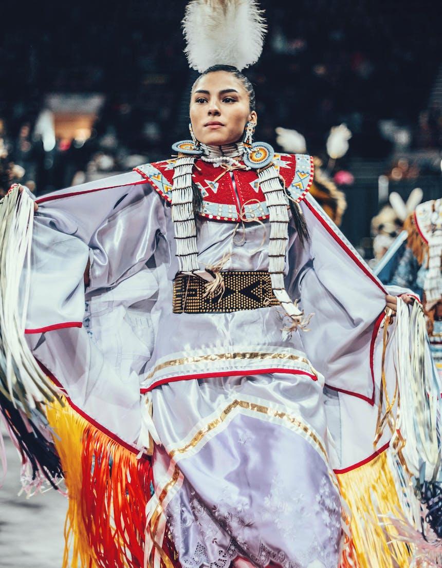 Keya dancing in traditional native american garb