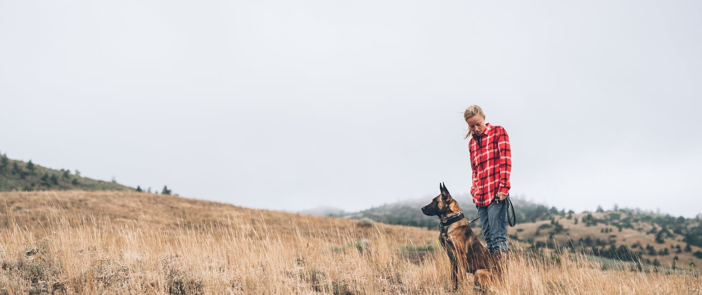person in red flannel stands next to sitting dog on grassy hillside