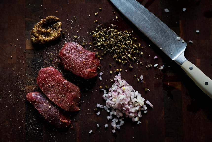 salted steaks and spices