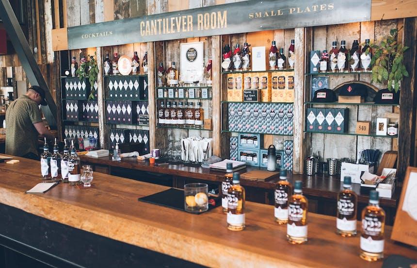 the bar inside Westland Distillery