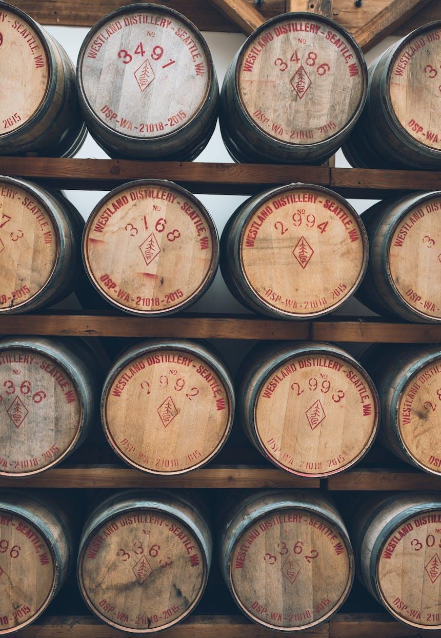 racks of whiskey casks